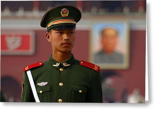 Greeting Card featuring the photograph China Soldier by Henry Kowalski