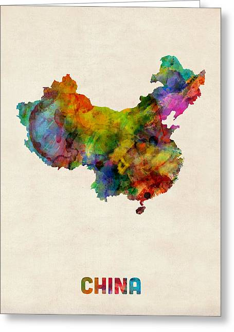 China Watercolor Map Greeting Card by Michael Tompsett