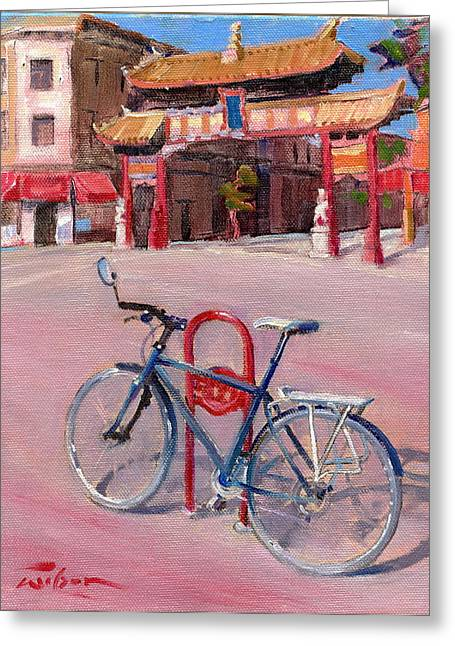 Chinatown Bicycle Greeting Card by Ron Wilson
