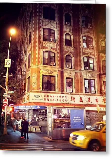 Chinatown In New York City At Night Greeting Card by Dan Sproul