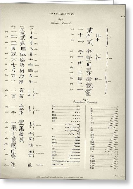 Chinese And Phoenician Numerals Greeting Card