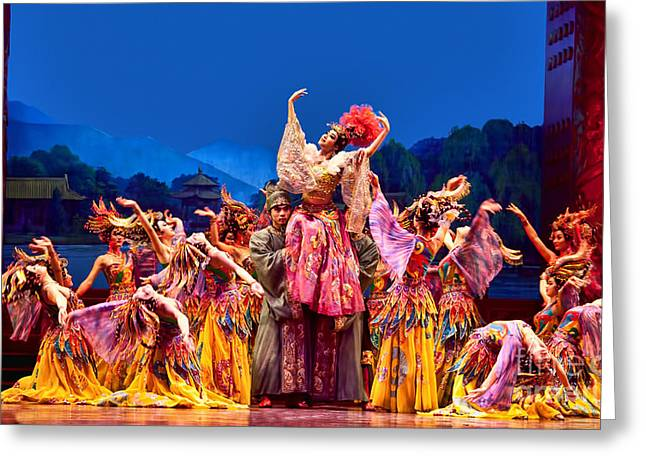 Greeting Card featuring the photograph Chinese Ballet In Xian by Shirley Mangini