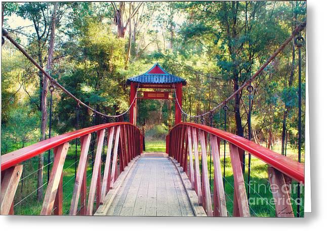 Chinese Bridge Wandiligong Greeting Card by Linda Lees