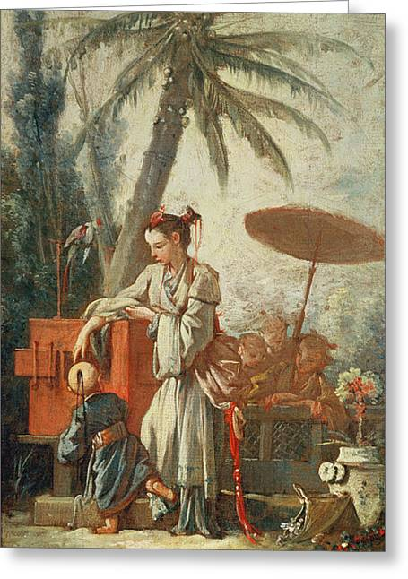 Chinese Curiosity, Study For A Tapestry Cartoon, C.1742 Oil On Canvas Greeting Card