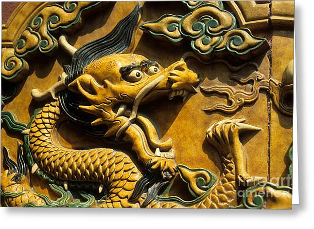 Chinese Dragon Portrait Greeting Card by James Brunker