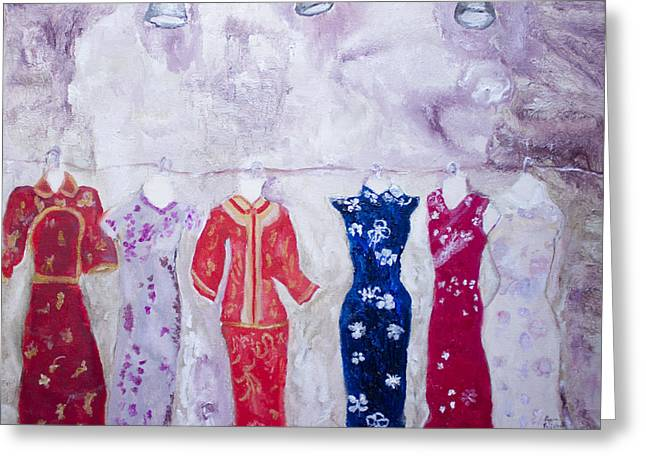 Greeting Card featuring the painting Chinese Dresses by Aleezah Selinger