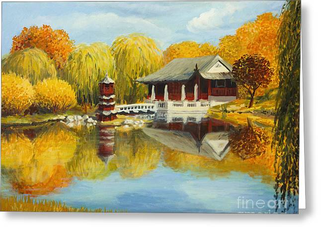 Chinese Garden In Berlin Greeting Card by Kiril Stanchev