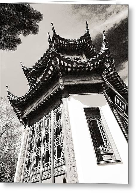 Chinese Garden In Montreal Greeting Card by Arkady Kunysz