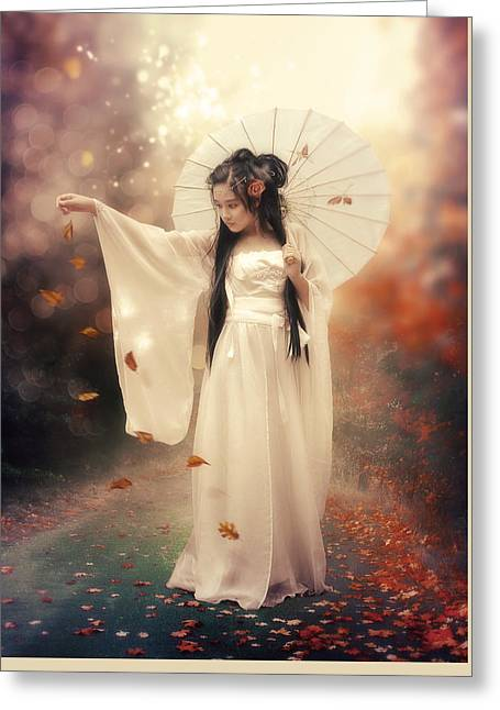 Chinese Girl Greeting Card by Cindy Grundsten