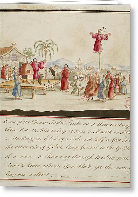 Chinese Jugglers Tricks Greeting Card by British Library