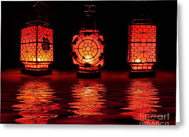 Chinese Lanterns Greeting Card by Delphimages Photo Creations