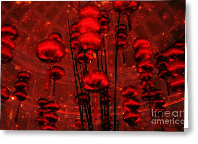 Chinese Lanterns Greeting Card by Julie Lueders