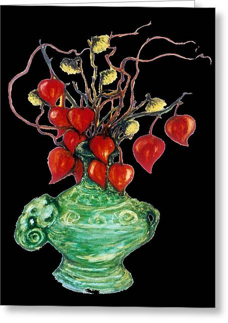 Chinese Lanterns On Black Greeting Card by Rae Chichilnitsky