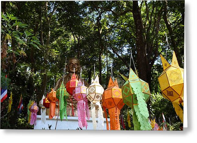 Chinese Lanterns - Wat Phrathat Doi Suthep - Chiang Mai Thailand - 01134 Greeting Card by DC Photographer