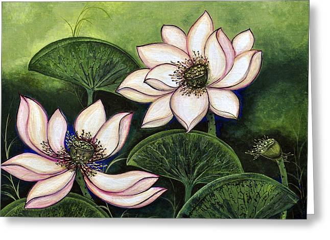 Chinese Lotus With Gold Pollen Greeting Card