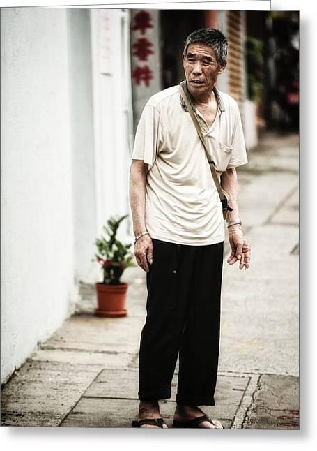 Chinese Man In Wan Chai Greeting Card