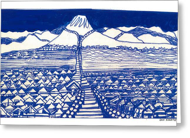 Greeting Card featuring the drawing Chinese Mountain by Don Koester