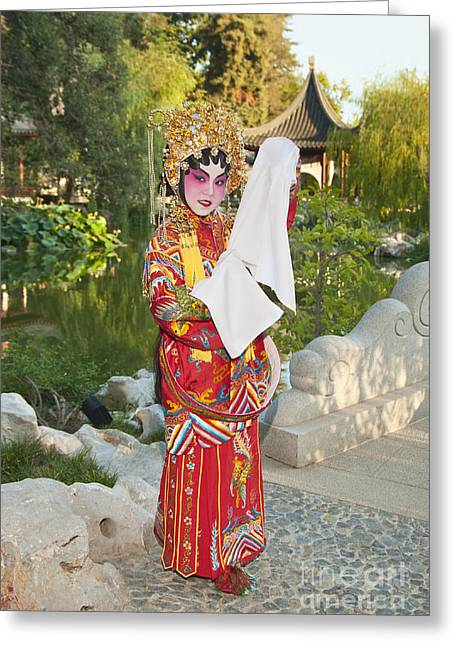 Chinese Opera Girl - In Full Traditional Chinese Opera Costumes. Greeting Card by Jamie Pham