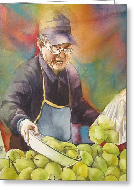 Chinese Pear Seller Greeting Card by Alfred Ng