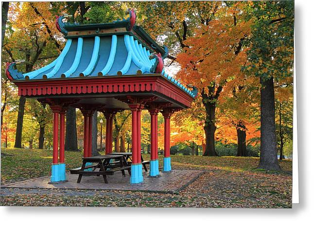 Chinese Shelter In Autumn Greeting Card by Scott Rackers
