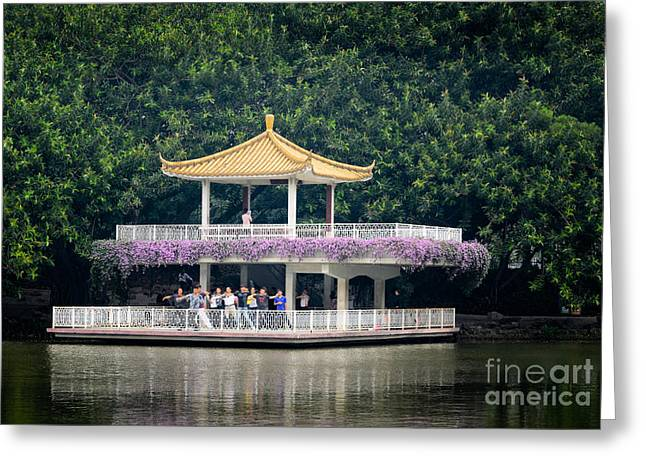 Chinese Style Pavillion In A Peaceful Park.  Greeting Card