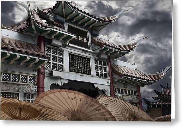 Chinese Temple Gate Greeting Card by Larry Butterworth