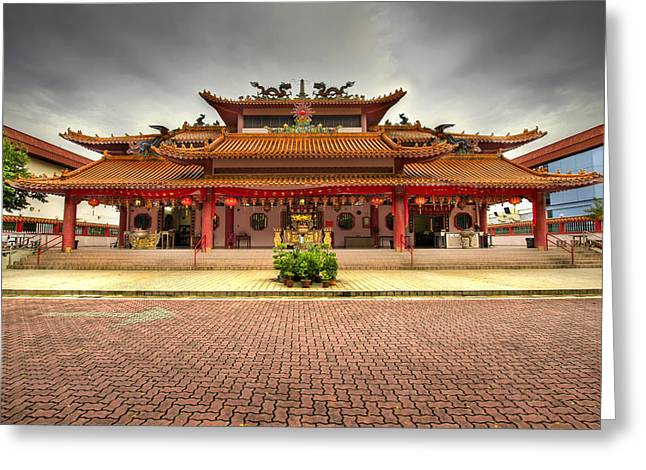 Chinese Temple Paved Square Greeting Card by David Gn