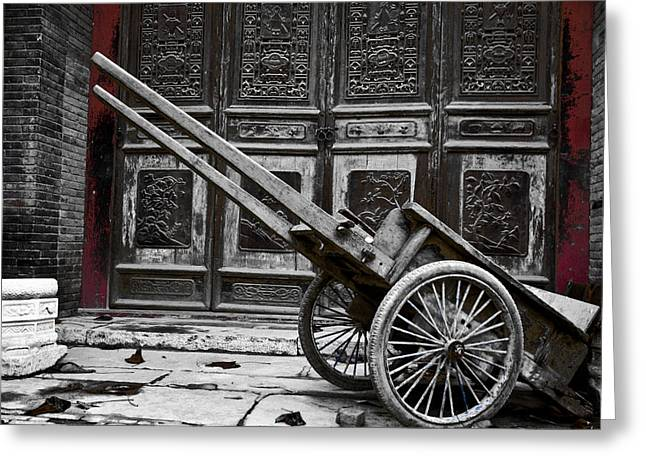 Chinese Wagon In Black And White Xi'an China Greeting Card