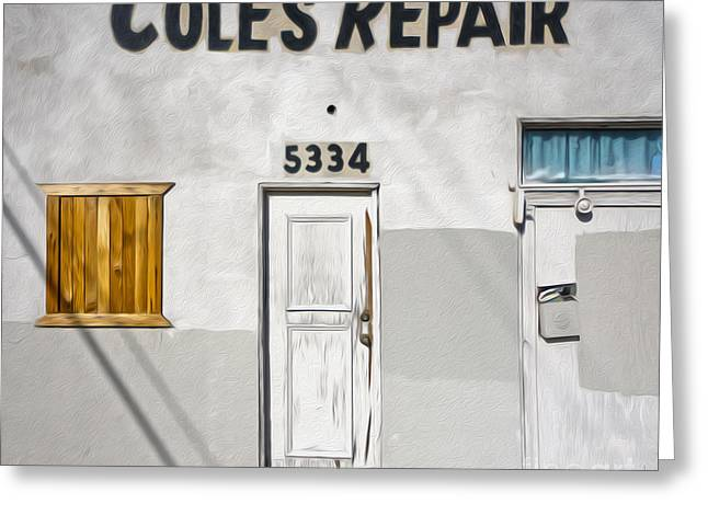 Chino - Coles Repair Greeting Card by Gregory Dyer