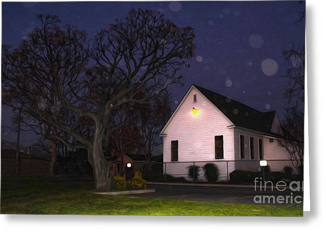 Chino Old School House At Night- 01 Greeting Card by Gregory Dyer