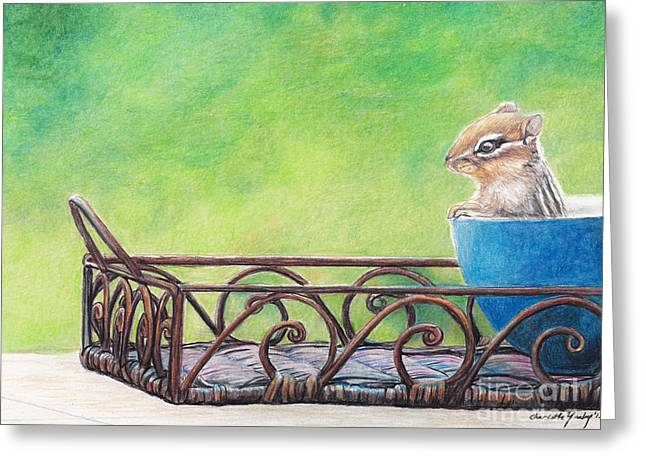 Chipmunk In Blue Bowl Greeting Card by Charlotte Yealey