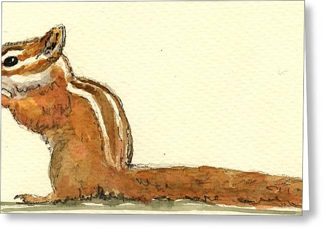 Chipmunk Greeting Card by Juan  Bosco