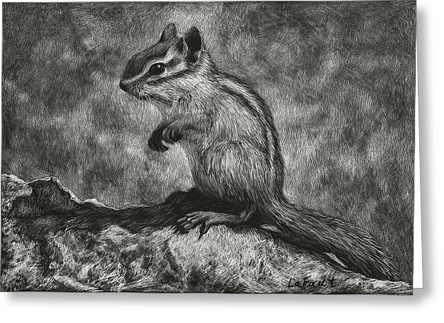 Greeting Card featuring the drawing Chipmunk On The Rocks by Sandra LaFaut