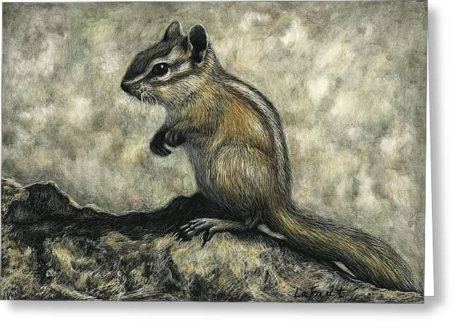 Greeting Card featuring the drawing Chipmunk  by Sandra LaFaut