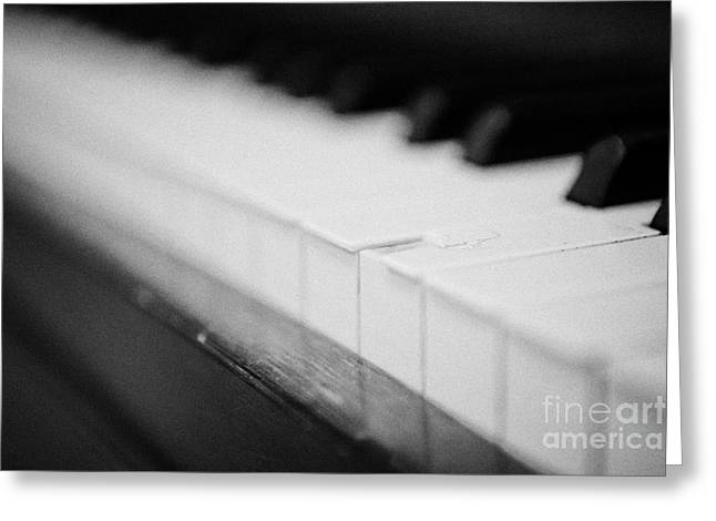 Chipped Key On A Baby Grand Piano In A Music Training Room Greeting Card by Joe Fox