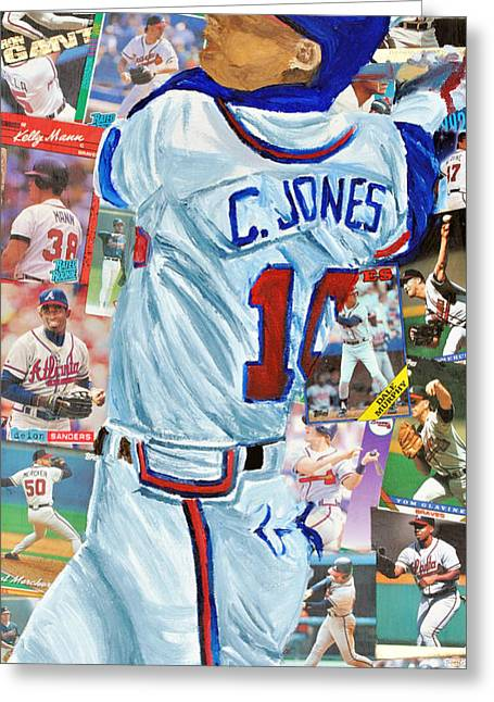 Chipper Jones 14 Greeting Card by Michael Lee