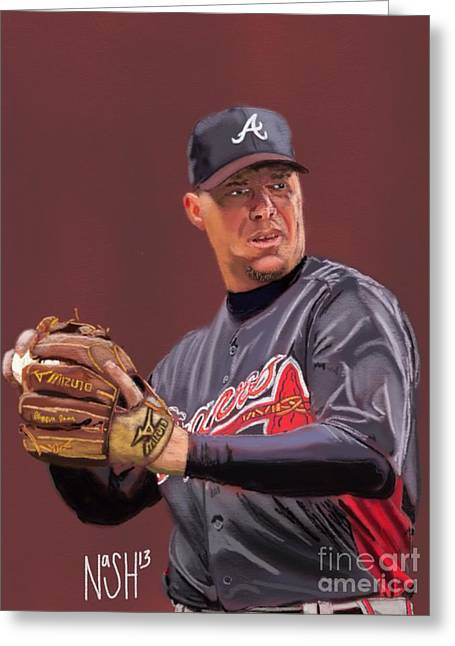 Chipper Jones Greeting Card by Jeremy Nash