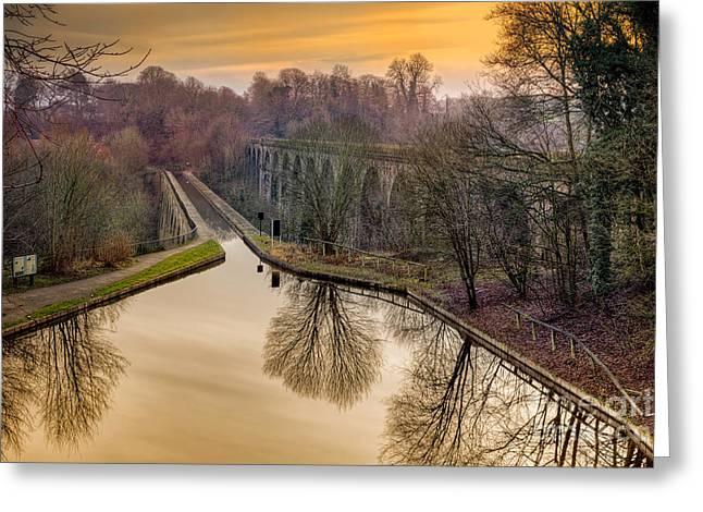 Chirk Aqueduct Greeting Card by Adrian Evans