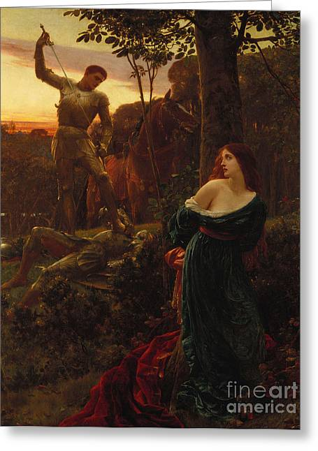 Chivalry Greeting Card by Sir Frank Dicksee
