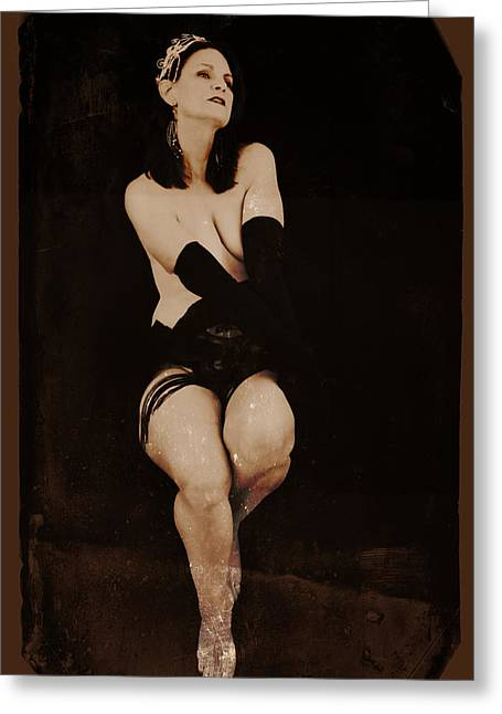Chloe At The Cabaret Greeting Card by Kathleen Horner