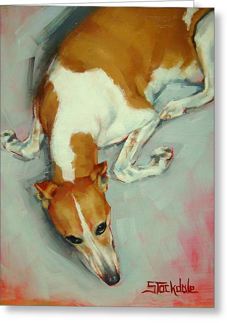 Greeting Card featuring the painting Chloe The Whippet by Margaret Stockdale