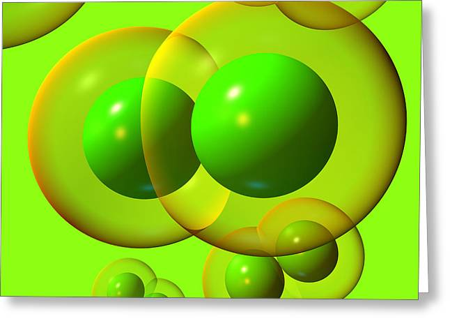 Greeting Card featuring the digital art Chlorine Molecule 1 Green by Russell Kightley