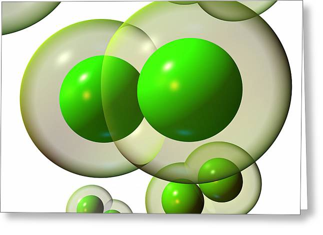 Greeting Card featuring the digital art Chlorine Molecule 3 White by Russell Kightley