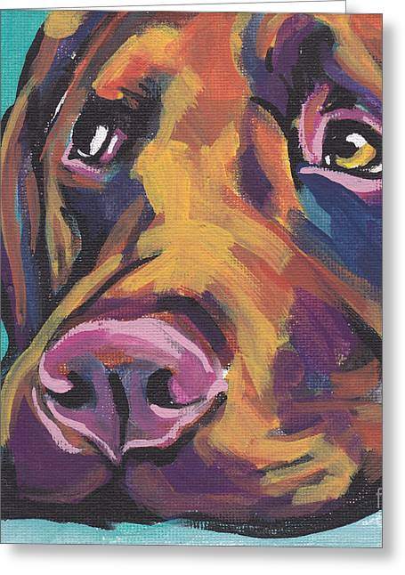 Choco Lab Love Greeting Card by Lea S