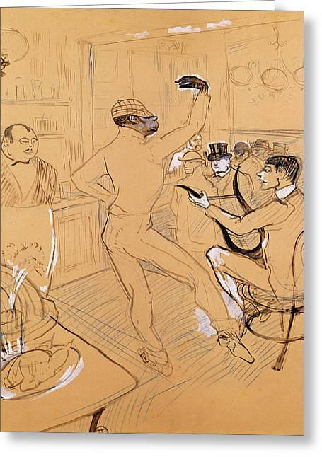 Chocolat Dancing, 1896 Pen & Ink And Coloured Pencil On Paper Greeting Card by Henri de Toulouse-Lautrec