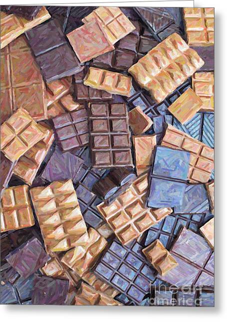 Chocolate Chaos Greeting Card by Tim Gainey
