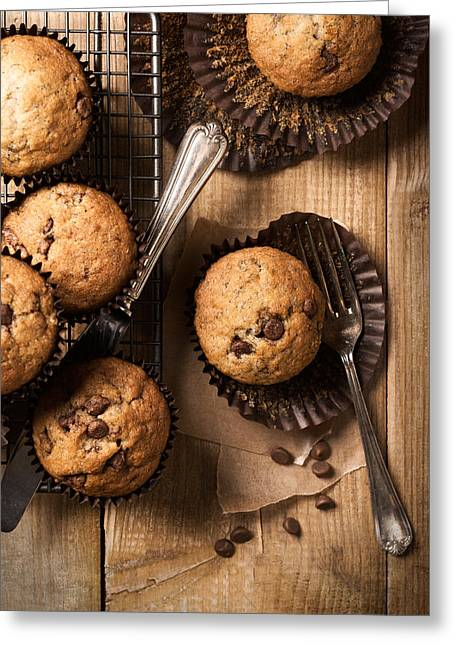 Chocolate Chip Muffins Greeting Card by Amanda Elwell