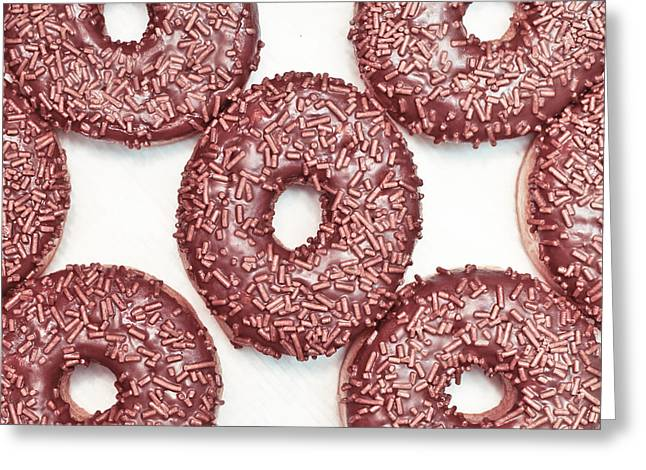 Chocolate Donuts Greeting Card by Tom Gowanlock