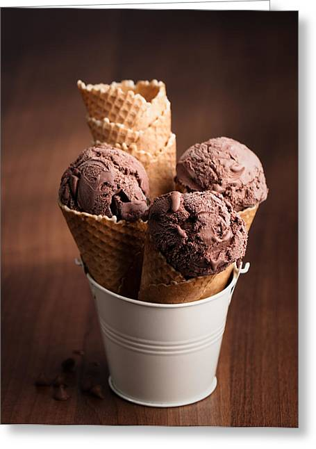 Chocolate Ice Cream Greeting Card by Amanda Elwell