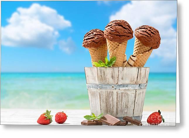 Chocolate Icecreams Greeting Card by Amanda Elwell